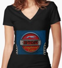 GMC PD 3751 Greyhound Bus stop sign (1947) Women's Fitted V-Neck T-Shirt