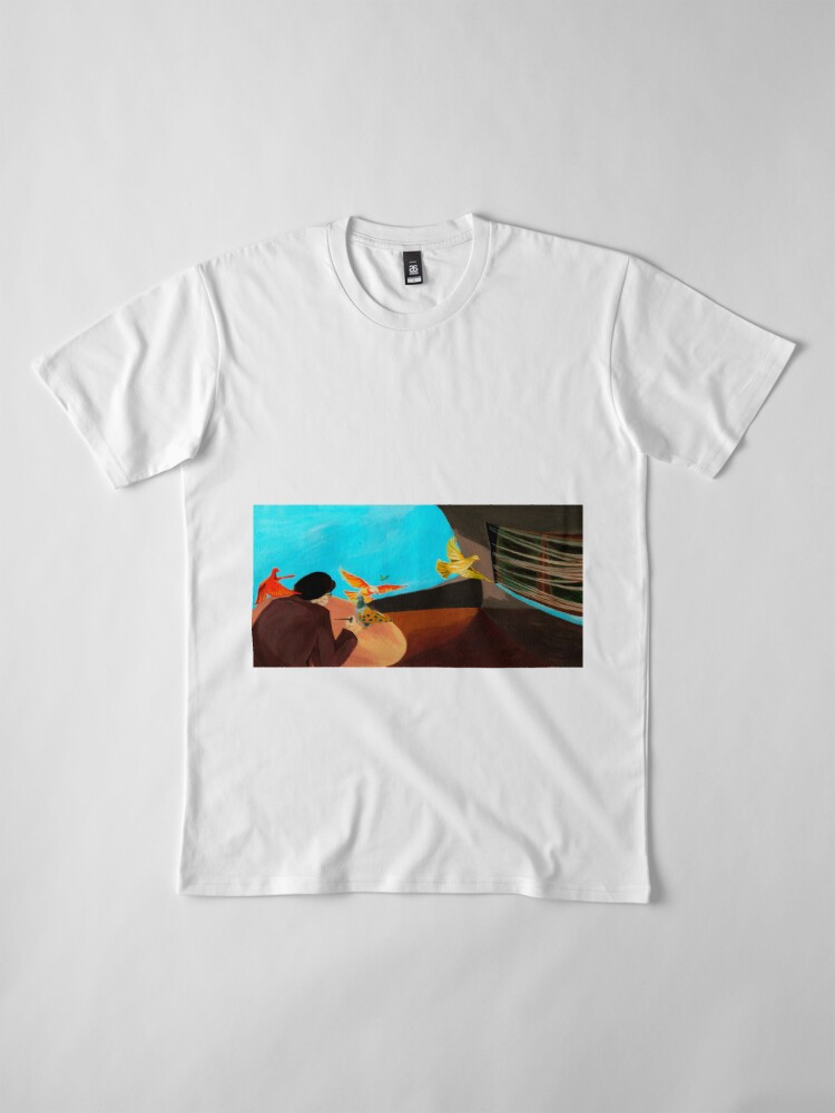 Alternate view of Old man painting pigeons children's book illustration Premium T-Shirt