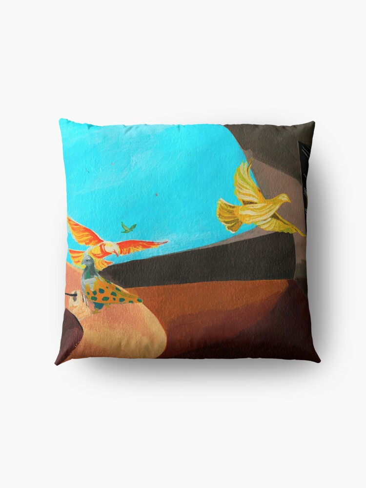Alternate view of Old man painting pigeons children's book illustration Floor Pillow