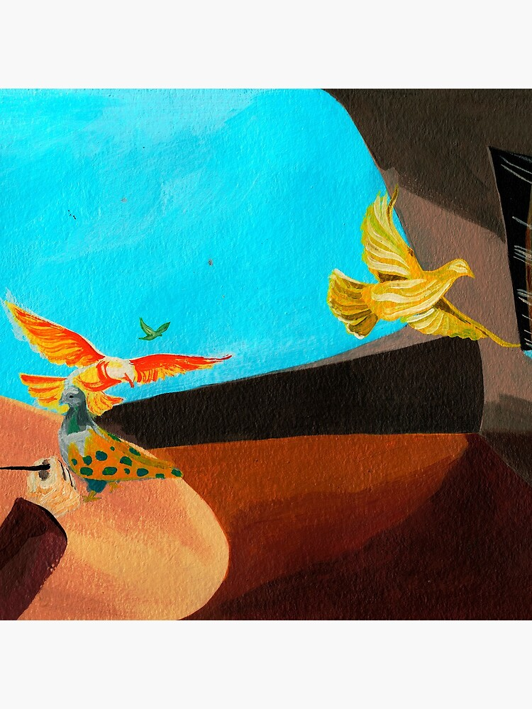 Old man painting pigeons children's book illustration by CatarinaGarcia
