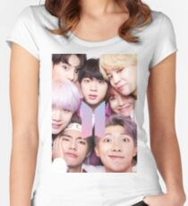 BTS Group PHOTO Case / Poster ECT ( Selfie ) With Logo 2018 Women's Fitted Scoop T-Shirt