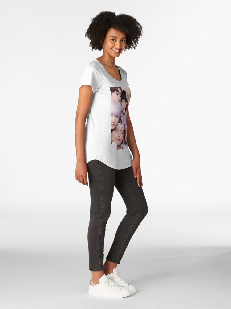 Vista alternativa de Camiseta premium para mujer BTS Group PHOTO Case / Poster ECT (Selfie) con logotipo