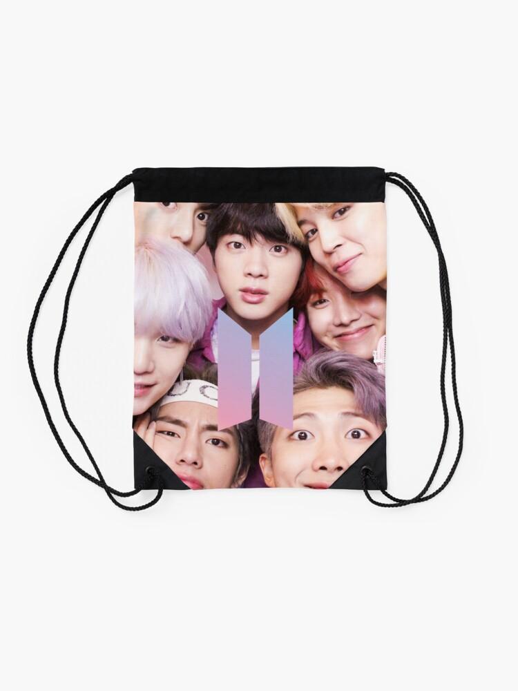 Vista alternativa de Mochila de cuerdas BTS Group PHOTO Case / Poster ECT (Selfie) con logotipo