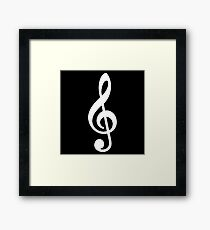 G Key Music Symbol  White Framed Print