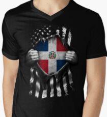 Dominican American Flag USA Dominican Republic Men's V-Neck T-Shirt