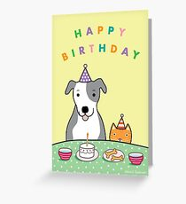 Happy Birthday Dog and Cat Greeting Card