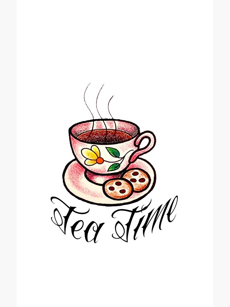 Tea Time Saucer and Cup Tattoo Design by NaughtyMynx