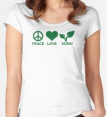 Peace love vegan Women's Fitted Scoop T-Shirt