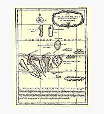 GALAPAGOS: Jahrgang 1684 Capt Cowley Map Print Fotodruck