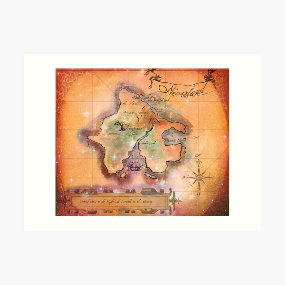 Neverland Karte Kunstdruck