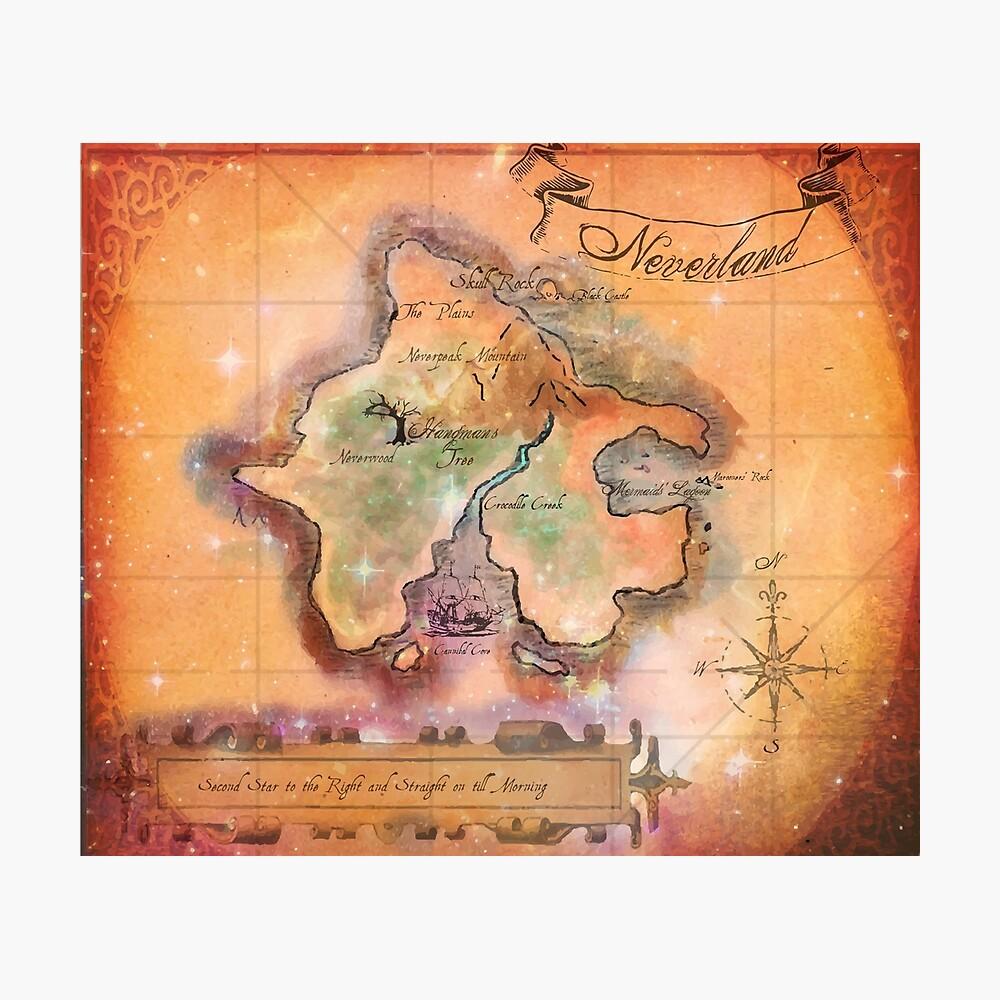 Neverland Karte Fotodruck