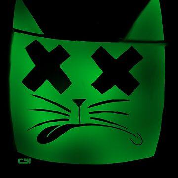 Dead Green Cat 2: Stencil by Cooper31