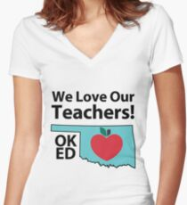 We Love Our Teachers Women's Fitted V-Neck T-Shirt