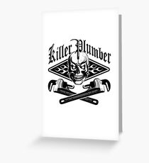 Plumber Skull and Wrenches 3.1 Greeting Card
