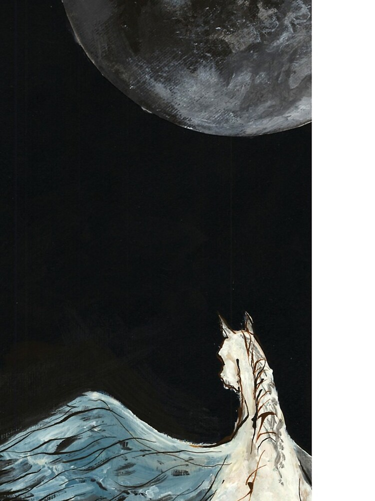Horse flying to the moon Silver stream illustration by CatarinaGarcia