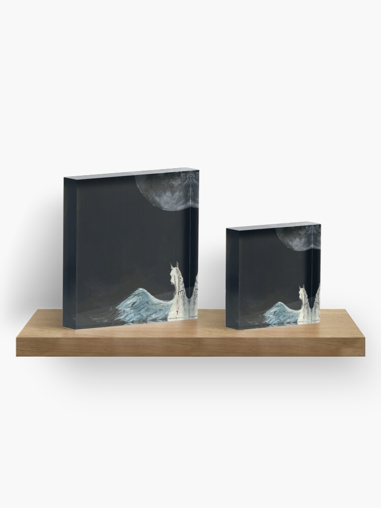 Alternate view of Horse flying to the moon Silver stream illustration Acrylic Block