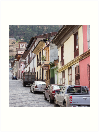 Steep city street with coloured buildings, Alausi, Ecuador by Kendall Anderson