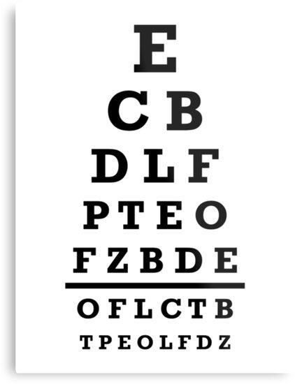 Eye Chart Test Metal Prints By Designzz Redbubble