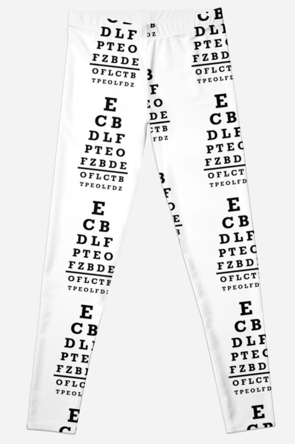 Eye Chart Test Leggings By Designzz Redbubble