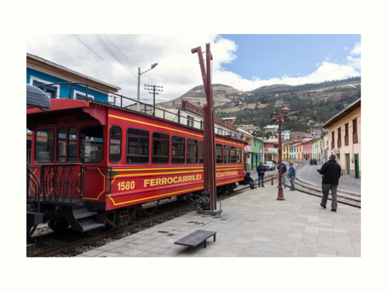 Red Devil's Nose train car on tracks, Alausi, Ecuador by Kendall Anderson