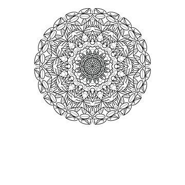 Mandala Flower Spiritual Retro Design TShirt by breidbe