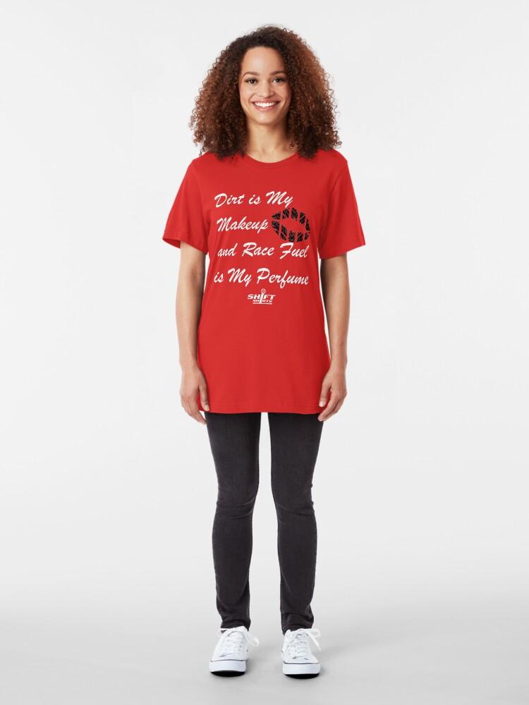 Alternate view of Shift Shirts Race Perfume - Female Racer  Slim Fit T-Shirt