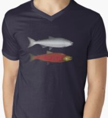 Chinook (King) Salmon Ocean and Spawn Phases Men's V-Neck T-Shirt