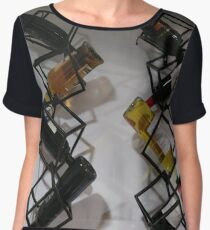 Wine bottles, Shelf, Building, Technopunk, Steampunk, Cyberpunk Chiffon Top