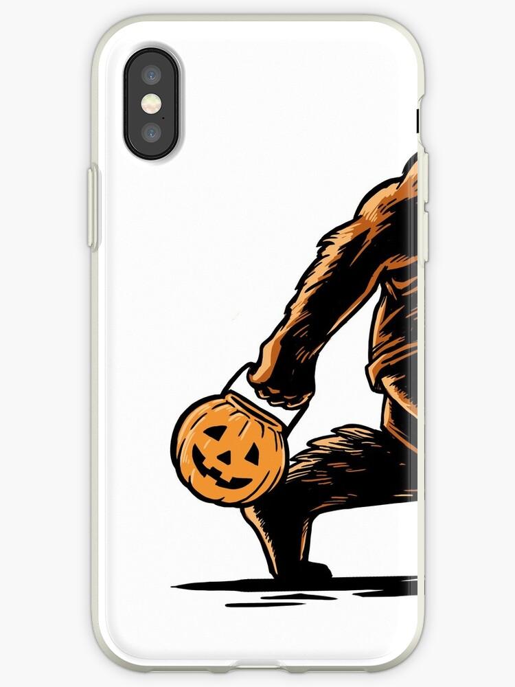 'Trick or Treat BigFoot carrying Jack-O-Lantern Pail' iPhone Case by Maria  Faith Garcia