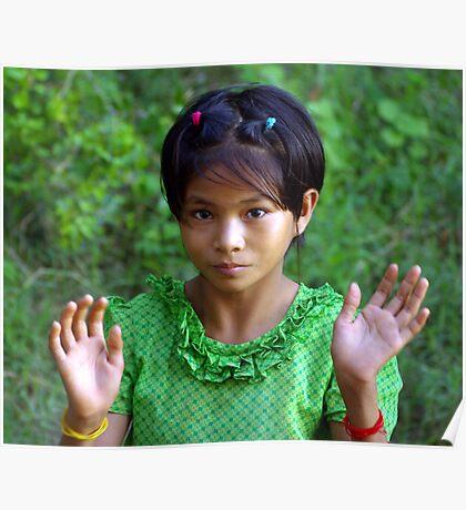Village girl, Upper Irrawaddy River, Burma Poster