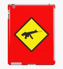 Yellow WARNING sign digital gamer machine gun iPad Case/Skin