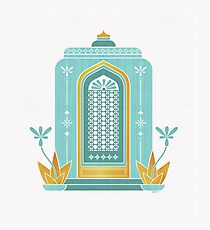Morrocan Scene - Sage Green With Metallic Gold Acents Photographic Print