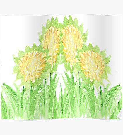 Showy Sunflowers Poster