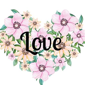 LOVE printed on gorgeous Clematis Heart by indicat