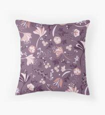 Beautiful Blooms Seamless Pattern on Purple Floor Pillow
