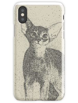 Abyssinian kitten dotted art