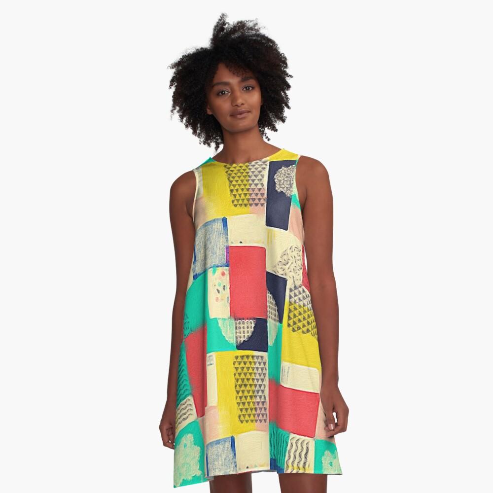 Blocky Pastel Pattern  A-Line Dress Front