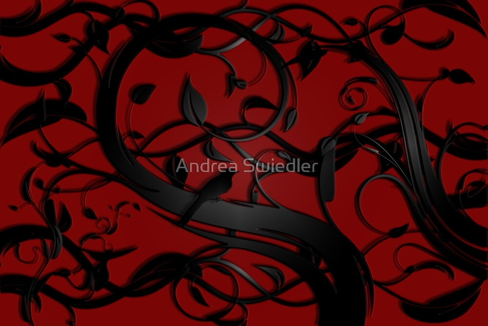 Flourish in Red and Black by Andrea Swiedler