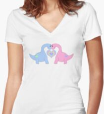 Adoring Apatosaurus Women's Fitted V-Neck T-Shirt
