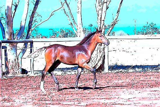 lightly cartooned foal trotting by WordTasker