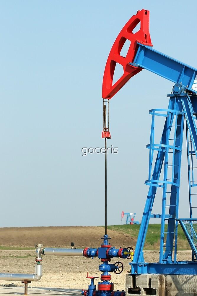 two oil pump jack on field by goceris