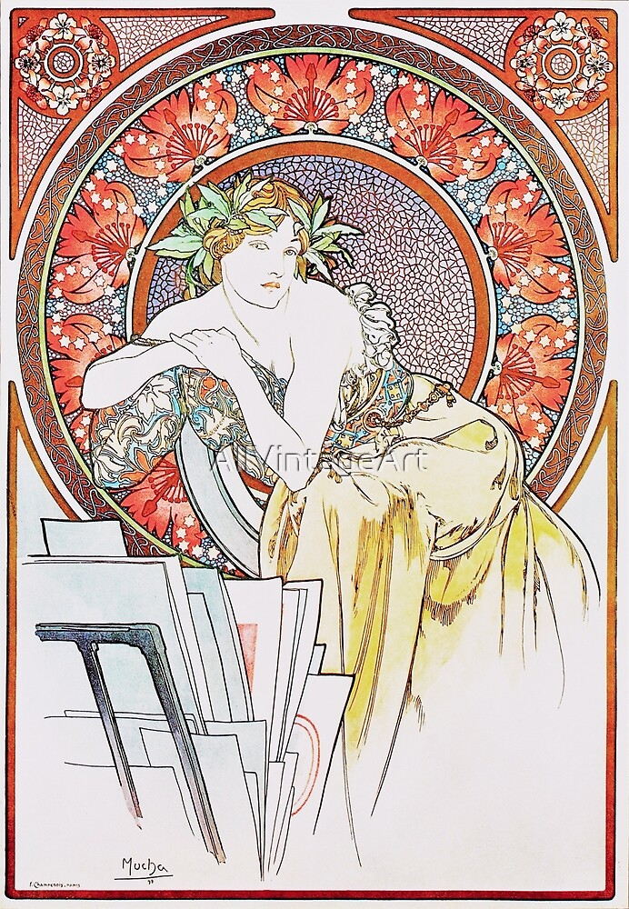 Vintage Alphonse Mucha - Woman with Poppies 1898 Art Nouveau by AllVintageArt