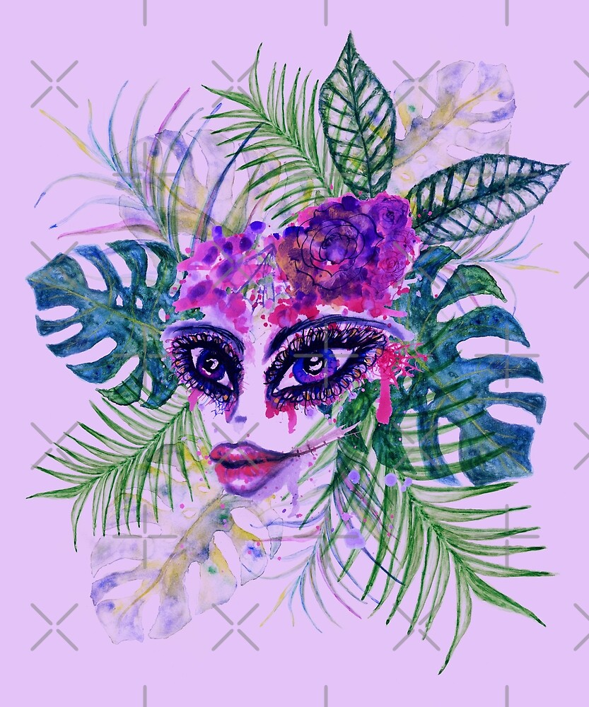 Female face with sugar skull makeup and Tropic leaves by AnnArtshock