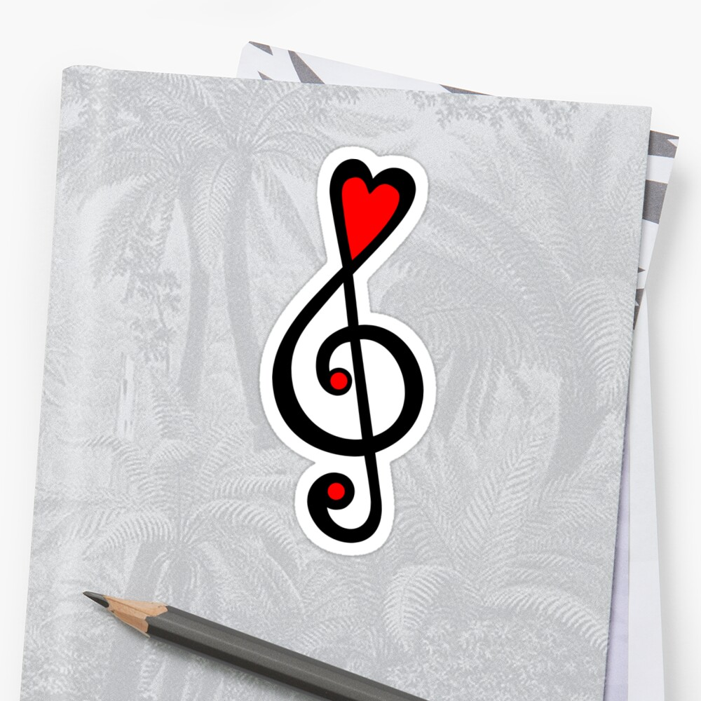 MUSIC CLEF HEART, Love, Music, Treble Clef, Classic by Anne Mathiasz