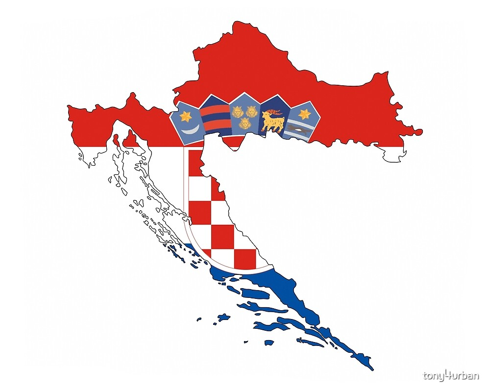 croatia flag map by tony4urban