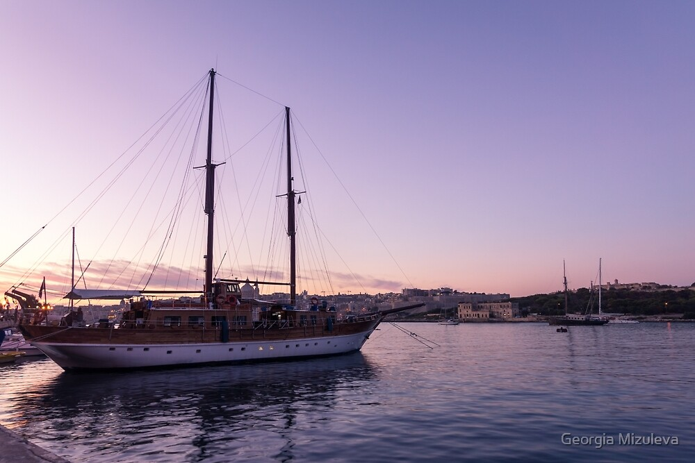 From Soft Amethyst to Ultra Violet - Maltese Tall Ship at Sunrise by Georgia Mizuleva