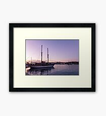 From Soft Amethyst to Ultra Violet - Maltese Tall Ship at Sunrise Framed Print