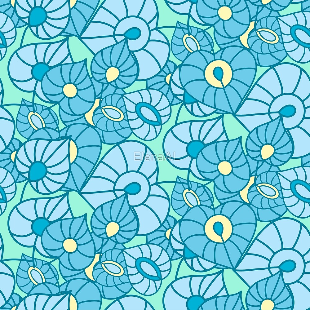 Seamless leaves background. Abstract ornament. Pattern can be used for textile design, packaging, invitation. by ElenaAL
