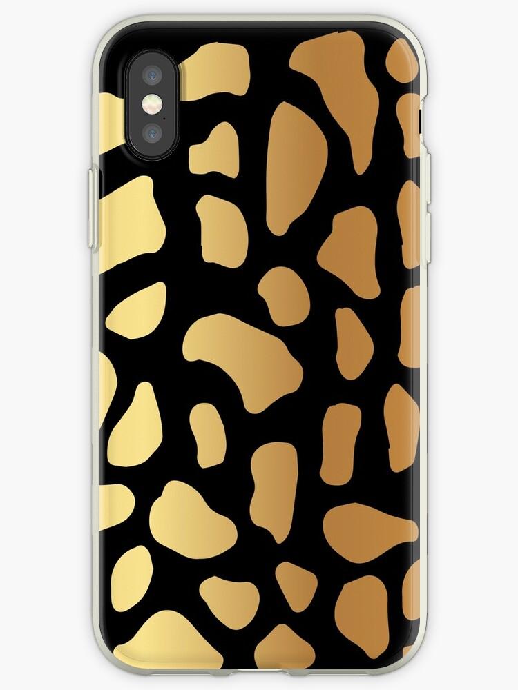 Gold Dark Spot Animal Skin on Black Background by Maricrism