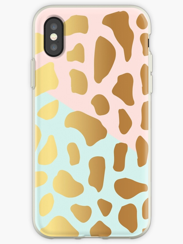 Gold Dark Spot Animal Skin on Pink and Green Background by Maricrism